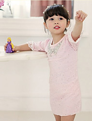 Girl's Cotton Summer Bright Drill Collar Three Quarter Sleeve Lace Dress