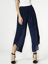 Women's Solid Blue /Black /Gray Wide Leg Nine Pants,Casual /Holiday Elastic Waist Asymmetric Fashion Thin Nylon/Cotton