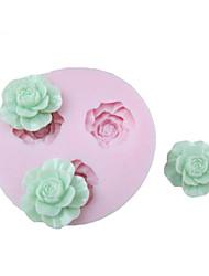 3D 3 ячейки Цветы Силиконовые Mold Фондант Пресс-формы Сахар Ремесло Инструменты Шоколад Плесень на торты