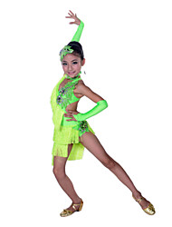 Shall We Latin Dance Children Performance Spandex Rhinestones Tassels Irregular Dresses Dance Costumes