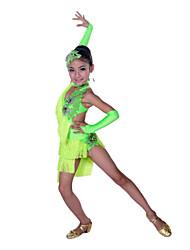 Dança Latina Vestidos Crianças Actuação Algodão Elastano 5 Peças Sem Mangas Alto Vestido Luvas Neckwear Tiaras