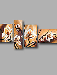 "Ready to Hang Stretched Hand-painted Oil Painting 70""x32"" Canvas Wall Art Modern Flowers Beige Magnolia"