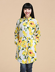 Women's Floral Red / Yellow Shirt,Shirt Collar Long Sleeve