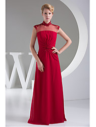 Formal Evening Dress-Fuchsia Sheath/Column Jewel Floor-length Chiffon