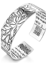 Women's Bracelet Sterling Silver Plated Sample Buddhism Letters Cuff Bracelet Wedding Bride