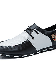 Men's Shoes Casual/Party/Office & Career Fashion Oxfords PU Leather Shoes Black/Bule/White/Black white