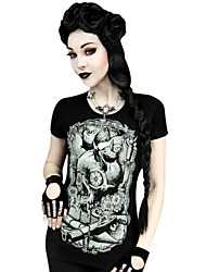 Witch/Vampire Style Lycra  Black Print Short Sleeve Classic Punk T-shirt