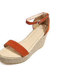 Women's Summer Wedges / Open Toe / Comfort Fleece Outdoor / Casual Wedge Heel Braided Strap Black / Green / Orange