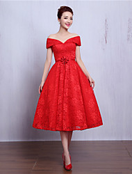 Cocktail Party Dress A-line V-neck Tea-length Lace with Beading / Flower(s)