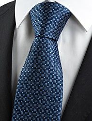Navy Blue Checked Pattern JACQUARD Men's Tie Necktie Formal Business Gift KT0034