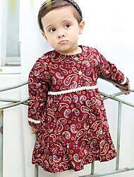 Vestido Chica de-Invierno-Algodón-Rojo