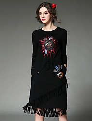 Fashion Women Dress Ethnic Vintage Elegant High Embroidery Bead Sequins Tassel Elastic Waist Dress