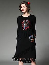 las mujeres de moda aofuli elegante vestido de lentejuelas de talón alto bordado de cosecha étnicos borla vestido de la cintura elástica