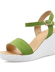 Women's Shoes Fleece Wedge Heel Wedges / Comfort / Open Toe Sandals Office & Career / Dress Black / Yellow / Green