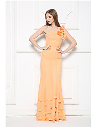 Formal Evening Dress-Orange Trumpet/Mermaid One Shoulder Floor-length Chiffon