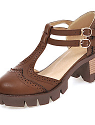 Women's Shoes Chunky Heels/D'Orsay & Two-Piece/Gladiator Heels Party & Evening/Dress Black/Brown/Gray/Almond