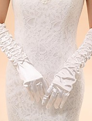 Elbow Length Fingertips Glove Elastic Satin Bridal Gloves / Party/ Evening Gloves Spring / Summer / Fall / Winter Pleated