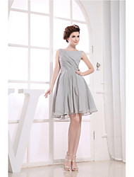 Cocktail Party Dress A-line Jewel Knee-length Chiffon with Side Draping