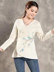 Women's Casual/Daily Vintage Spring Blouse,Floral V Neck Long Sleeve Beige Cotton / Linen Thin