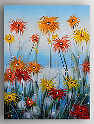 Oil Painting Red Flowers by Knife Hand Painted Canvas with Stretched Framed