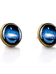 Lureme® Vintage Jewelry Time Gem Series Galactic System Antique Bronze Disc Stud Earrings for Women
