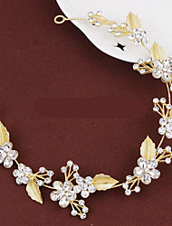 Lady's Baroque Style Gold Leaf Olive Crystal Pearl Headband  Forehead Hair Jewelry for Wedding Party (Length:28cm)