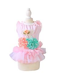 Dog Dress / Clothes/Clothing Blue / Pink Summer / Spring/Fall Stripe / Floral / Botanical Fashion