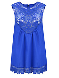 Women's Patchwork Lace Chiffion Loose Casual Street chic Tanks,Round Neck Sleeveless