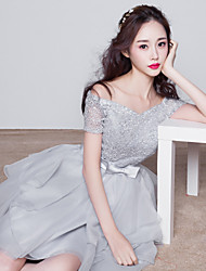 Knee-length Bridesmaid Dress-Silver Ball Gown Bateau