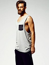 Men's Sleeveless Tank Tops,Cotton / Polyester Casual Solid