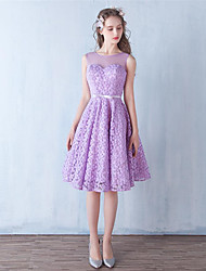 Knee-length Lace Bridesmaid Dress A-line Jewel with Bow(s)