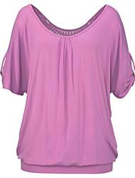 Damen T-Shirt - Rückenfrei / Ausgehöhlt Polyester Kurzarm Rundhalsausschnitt