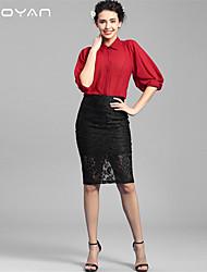 Baoyan® Femme Col de Chemise 1/2 Longueur de manches Shirt et Chemisier Rouge-160105