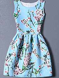 Women's Cute Floral A Line Dress,Round Neck Mini Polyester