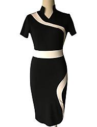 Mulheres Vestido Bodycon Vintage / Simples / Moda de Rua Estampado Altura dos Joelhos Colarinho Chinês Algodão / Elastano