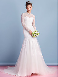 Trumpet/Mermaid Wedding Dress-Court Train High Neck Lace / Tulle