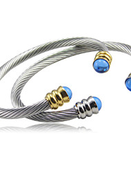 Blue Gem Clasp Stainless Steel Cable Cuff Bangle Christmas Gifts