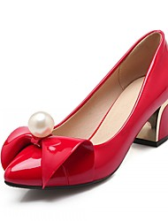 Women's Shoes Leatherette Chunky Heel Heels Heels Office & Career / Party & Evening / Dress Black / Pink / Red
