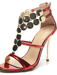 Women's Shoes Stiletto Heel Heels / Gladiator / Open Toe Sandals Party & Evening / Dress / Casual Red / Silver / Gold