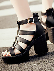 Women's Shoes Chunky Heel Platform/Gladiator/Open Toe Sandals/Heels Party & Evening/Dress/Casual Black/White