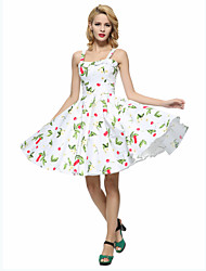 Women's Going out Vintage A Line / Skater Dress,Floral Strap Knee-length Sleeveless White / Black Cotton All Seasons
