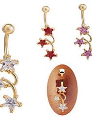 danse zircon en acier inoxydable nombril nombril anneau de bijoux de corps de perçage corporel dame