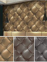 HaokHome® Vintage Faux Leather Textured Bronze/Brown/Grey Realistic 3D Wall Paper Mural Home Wall Art Decoration