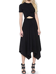 Women's Casual/Daily Street chic Loose Dress,Solid Round Neck Asymmetrical Short Sleeve Black Cotton Summer