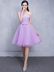 Knee-length Tulle Bridesmaid Dress-Lavender / Pearl Pink / Champagne / Silver A-line One Shoulder
