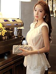 DABUWAWA® Mujer Escote Redondo Sin Mangas Camisa y blusa Blanco-D15BST179