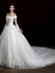 A-line Wedding Dress-White Cathedral Train Bateau Lace / Satin / Tulle