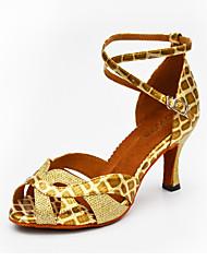 Customizable Women's Dance Shoes Leather Sparkling Glitter Leather Sparkling Glitter Latin Heels Customized HeelPractice Beginner Indoor