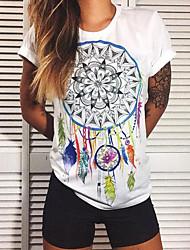 Damen Druck Einfach / Street Schick Lässig/Alltäglich T-shirt,Rundhalsausschnitt Sommer Kurzarm Weiß Polyester Mittel