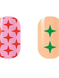 красный / зеленый звезда наклейки полые ногтей